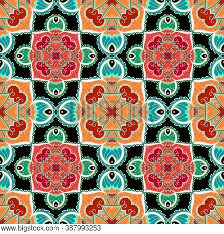 Floral Ethnic Seamless Pattern. Colorful Tribal Vector Background. Repeat Plaid Folkloric Backdrop.