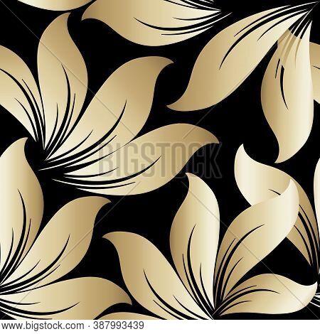 Beautiful Leafy Seamless Pattern. Ornamental Floral Vector Background. Elegant Repat Decorative Back