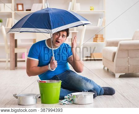 The man at home dealing with neighbor flood leak