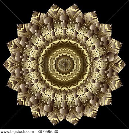 Gold Floral Textured Mandala Pattern. Round Flower. Zigzag Ornament. Decorative Beautiful Patterns.