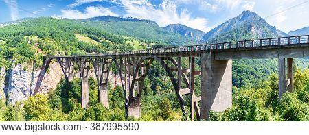 Durdevica Bridge Over The Tara River In Montenegro, Beautiful Panorama