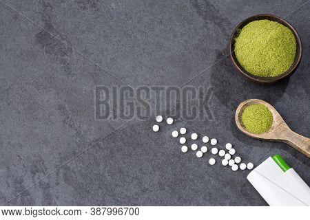 Pills And Powder Of Stevia Plant - Stevia Rebaudiana.