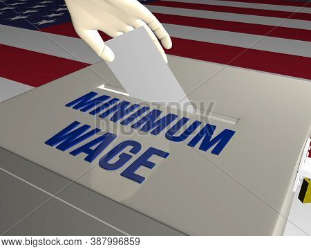 3d Render Illustration Of Usa Presidential Elections Debate On Minimum Wage Issue