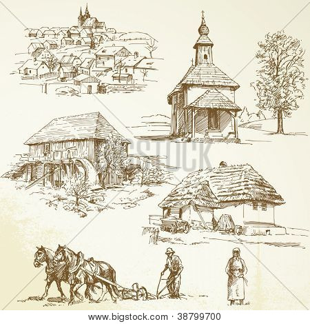 rural landscape, agriculture - hand drawn collection poster