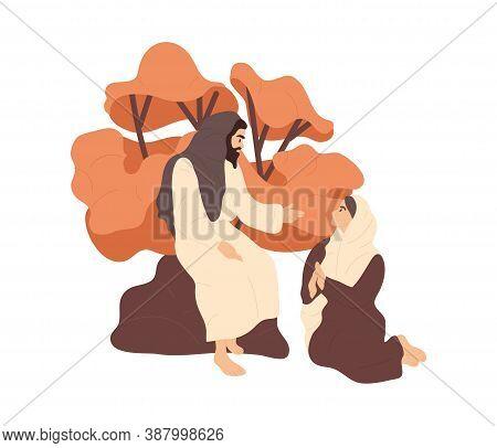 Bible Scene. Jesus Speaking To A Wonan. Flat Vector Illustration