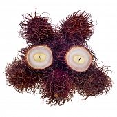 Exotic rambutan fruit on white background poster