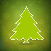 Christmas greeting card, invitation card or gift card with Xmas tree on green snowflake background. EPS 10. poster
