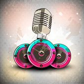 Retro musical background with microphone and speaker. EPS 10. poster