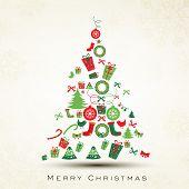 Beautiful Xmas tree for Merry Christmas celebration. EPS 10. poster