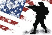 US soldier with the American Flag on the background poster