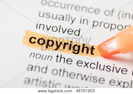 Orange marker on copyright word