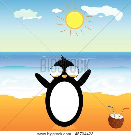penguin with coconut on the beach vector illustration poster