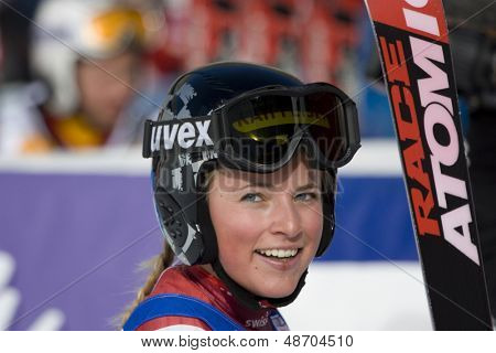 SOELDEN, AUSTRIA -OCT 25: Lara Gut SUI competing in the womens giant slalom race at the Rettenbach Glacier Soelden Austria, the opening race of the 2008/09 Audi FIS Alpine Ski World Cup in Soelden, Austria on Oct. 25, 2008.  poster