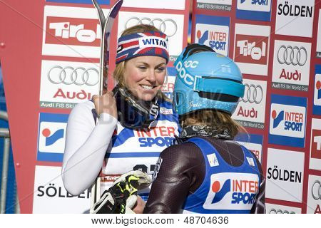 SOELDEN, AUSTRIA -OCT 25: Chemmy Alcott and Julia Mancuso after the womens giant slalom race at the Rettenbach Glacier Soelden Austria, the opening race of the 2008/09 Audi FIS Alpine Ski World Cup in Soelden, Austria on Oct. 25, 2008.  poster