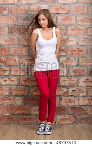 Shy Girl Casual Design In Red Pants