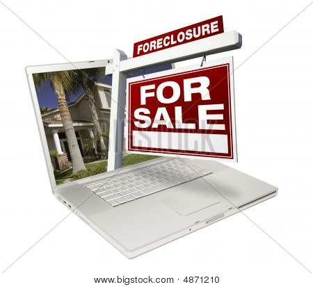 Foreclosure Home For Sale Real Estate Sign & Laptop