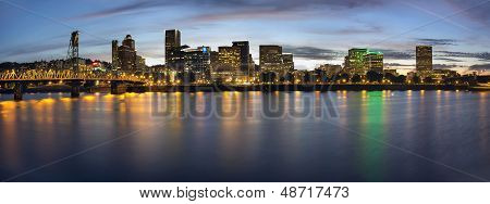 Portland Oregon Downtown Waterfront City Skyline with Hawthorne Bridge at Blue Hour Panorama poster