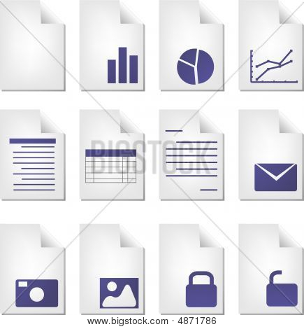 Document file types icon set clipart illustration poster