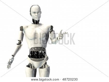 cyber robot man pointing isolated