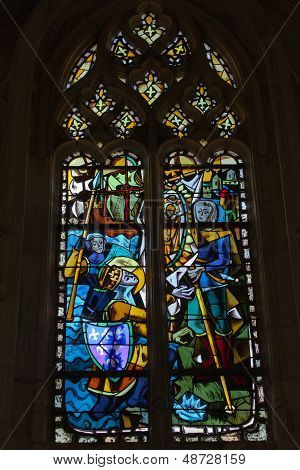 The stained glass windows inside Chapel St. Hubert where Leonardo Da Vinci is buried in Amboise Fran