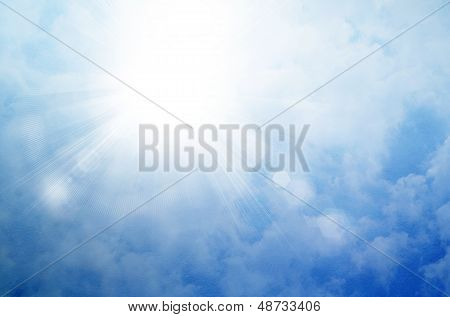 poster of Sun on a blue sky with rays and flare abstract background