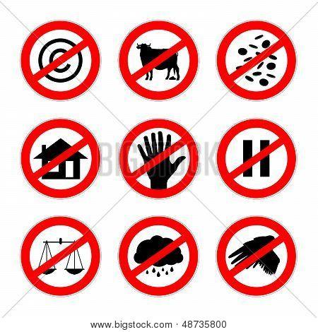 Alternative Prohibition Signs Set