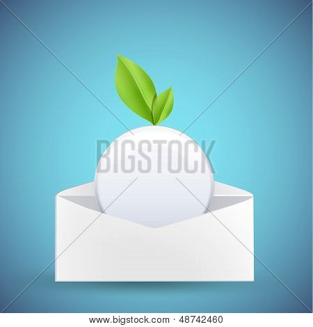 White Button With Leaf Inside Envelope. Vector Design.