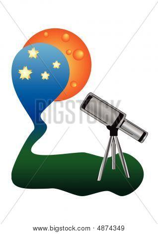 Telescope Watching Night Sky