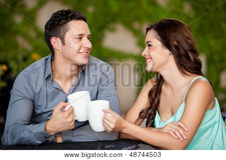 First date at a coffee shop