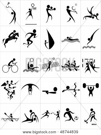 Set of silhouettes of summer sport