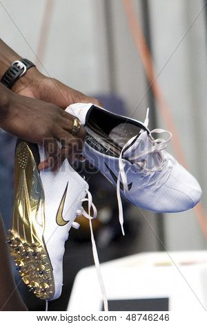 June 14 2009; Berlin Germany. Kerron Stewarts (JAM) golden shoes at the DKB ISTAF 68 International Stadionfest Golden League Athletics competition.