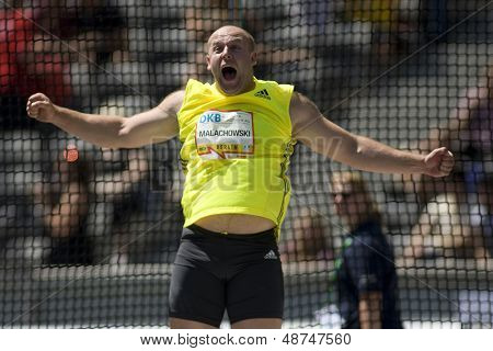 June 14 2009; Berlin Germany. MALACHOWSKI Piotr (POL) competing in the discus at the DKB ISTAF 68 International Stadionfest Golden League Athletics competition.