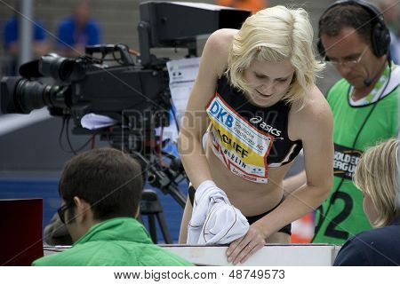 June 14 2009; Berlin Germany. Amy ACUFF (USA) checks with the judges while competing in the high jump at the DKB ISTAF 68 International Stadionfest Golden League Athletics competition.