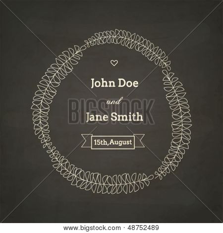 Wedding invitation card, chalkboard style template