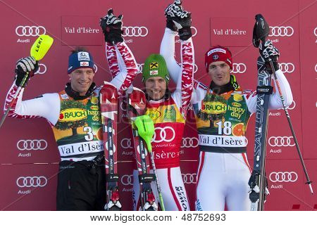 VAL D'ISERE FRANCE. 12-12-2010. Benny Raich (AUT) 2nd Marcel Hirscher (AUT) winner and Steve Missillier (FRA) 3rd at the alpine skiing world cup slalom race on the Bellevarde race piste Val D'Isere.