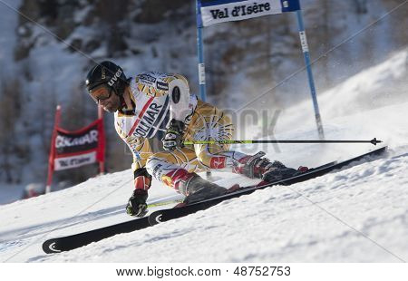 VAL D'ISERE FRANCE. 11-12-2010. FRISCH Jeffrey (CAN) speeds down the course during  the FIS alpine skiing world cup giant slalom race on the Bellevarde race piste Val D'Isere.
