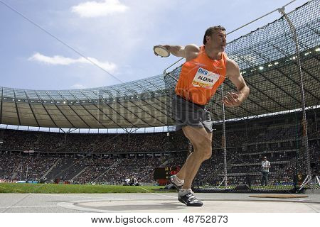 June 14 2009; Berlin Germany. Virgilijus ALEKNA (LTU) competing in the discus at the DKB ISTAF 68 International Stadionfest Golden League Athletics competition.