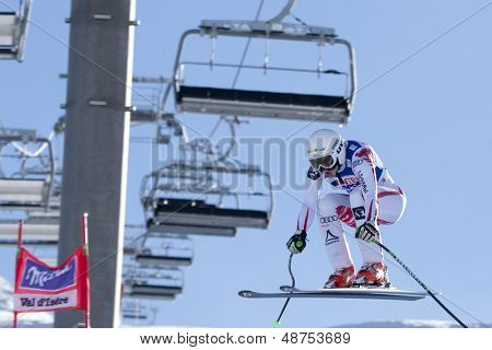 VAL D'ISERE FRANCE. 18-12-2010. Regina Mader (AUT) takes to the air during the women's downhill race at the FIS Alpine skiing World Cup Val D'Isere France.