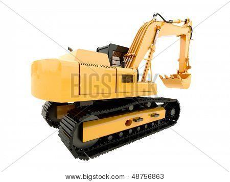 Construction heavy machine: excavator isolated on white background