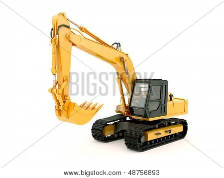 Construction heavy machine: excavator isolated on white background with light shadow