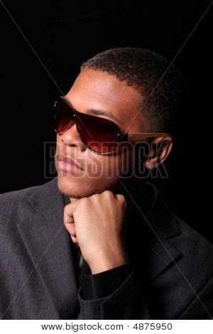 Handsome High Fashion Black Male Wearing Sunglasses