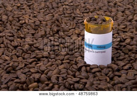 Coffee Medicine Bottle Surrounded By Beans