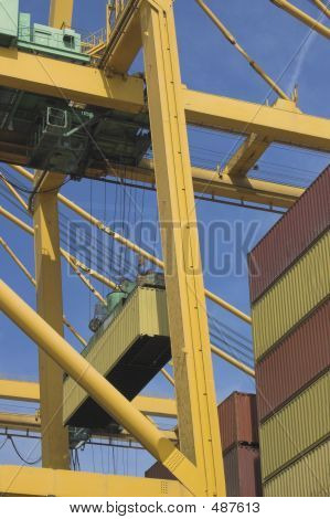 Gantry Cranes Loading Containers , Valence, Spain