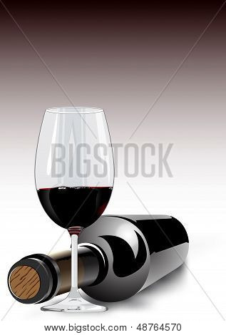 Red wine in a glass and bottle