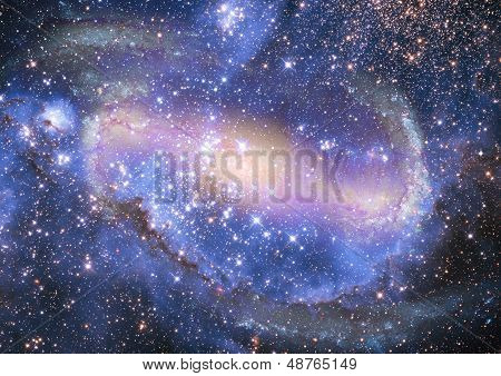 "Stars and spiral galaxy in a free space. ""Elements of this image furnished by NASA"". poster"