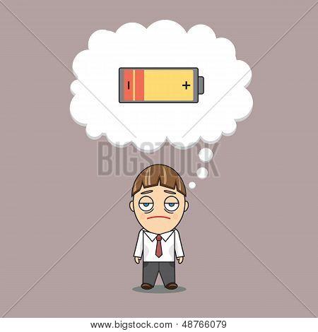 A businessman has no energy
