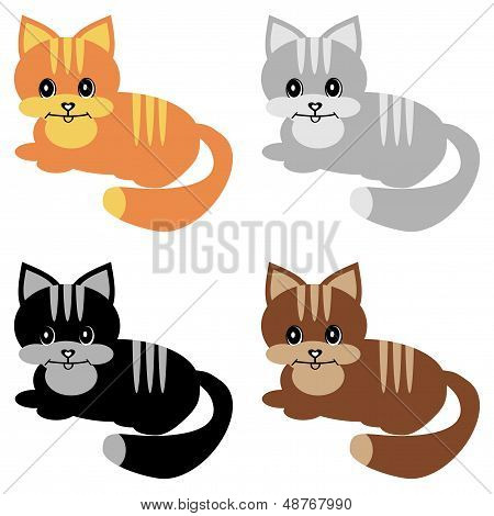 four nice cats on white background vector illustration poster