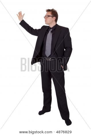 Businessman With Glasses Presenting