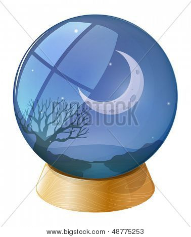 Illustration of a crystal ball with a moon on a white background