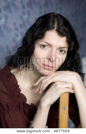 Portrait Of Young Serious Woman